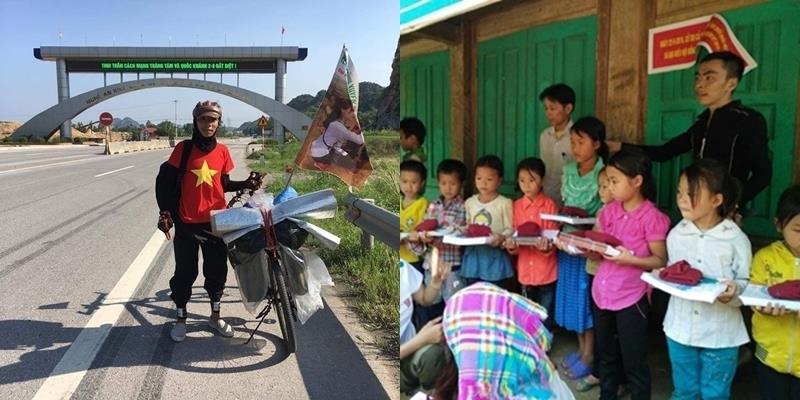 Đạp xe bán áo làm từ thiện, chàng trai trẻ khiến dân mạng rơi nước mắt