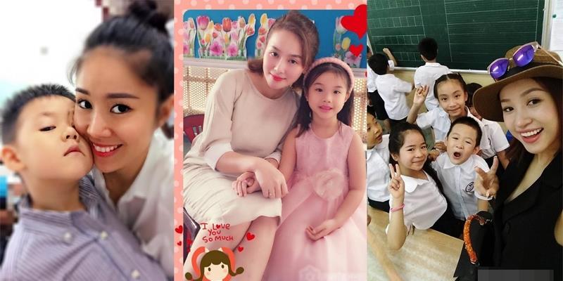 Sao Việt háo hức đưa con đến trường trong ngày khai giảng năm học mới