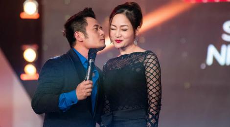 Lan Phương đỏ mặt vì được Bằng Kiều hôn trên sân khấu