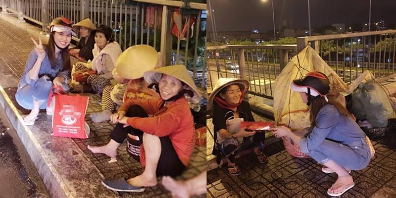 Ngọc Trinh đội mưa, mang dép lê đi phát quà cho người vô gia cư