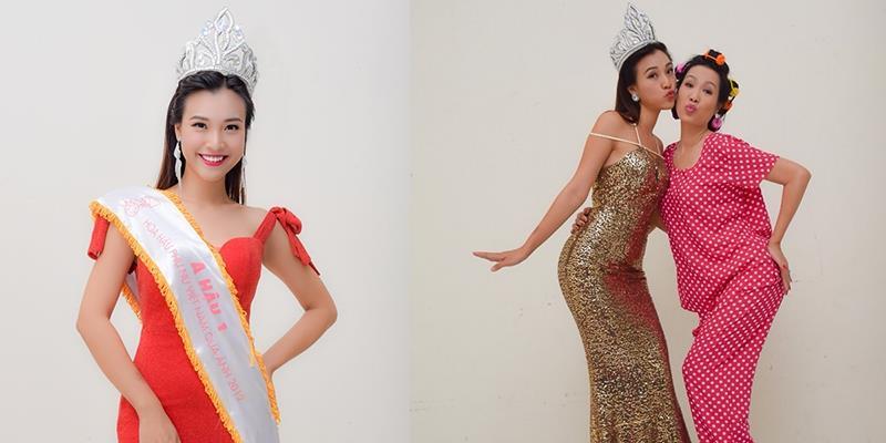 """Á hậu Hoàng Oanh cười sung sướng khi đăng quang """"Hoa hậu Ao làng"""""""