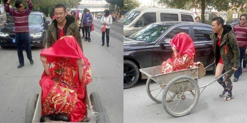 Ngỡ ngàng với đám rước dâu bằng xe phụ hồ của chú rể nghèo