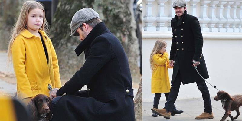 """Harper phụng phịu """"khó chịu"""" vẫn cực đáng yêu đi dạo cùng bố Beck"""