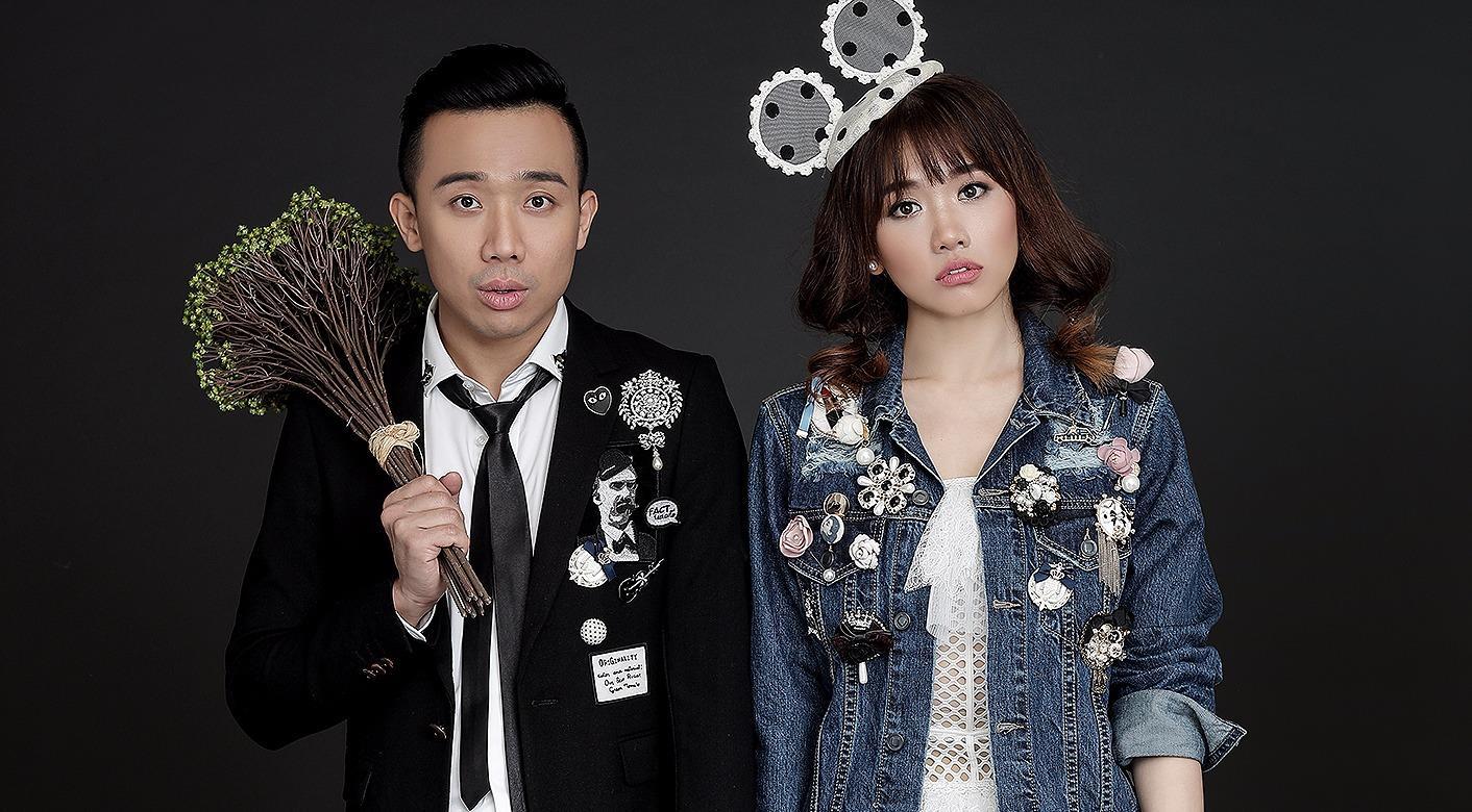 Hari Won - Trấn Thành tinh nghịch trong ảnh cưới