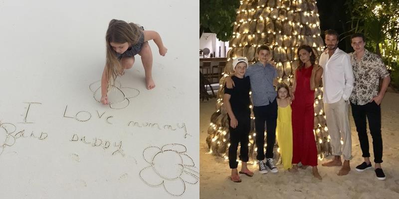 Harper Beckham viết lời yêu thương gửi bố mẹ trên cát