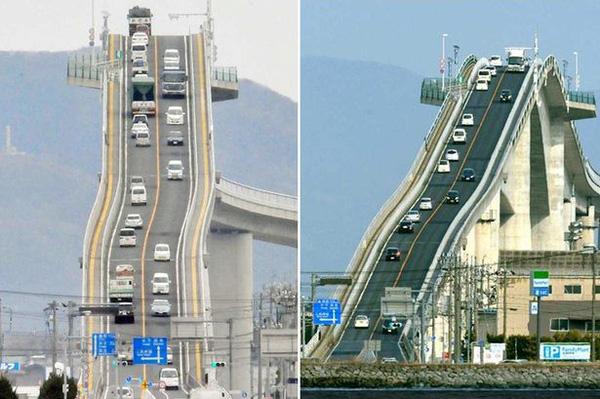 Thót tim với độ dốc của cây cầu nguy hiểm nhất thế giới