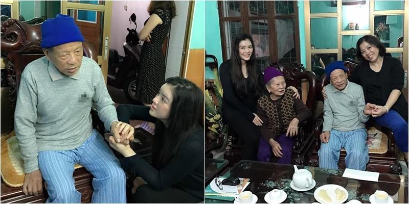 Lý Nhã Kỳ giản dị cùng chị gái về quê thăm ông bà