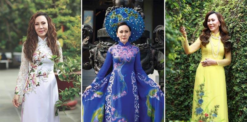 Nữ doanh nhân Lan Đỗ rạng ngời sắc xuân với Áo dài Tommy Nguyễn