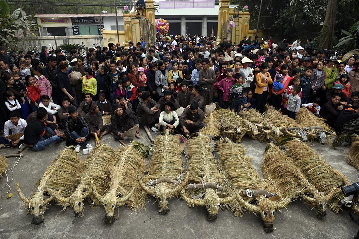 Trai giả gái gieo hạt tại lễ hội trâu bò rơm rạ