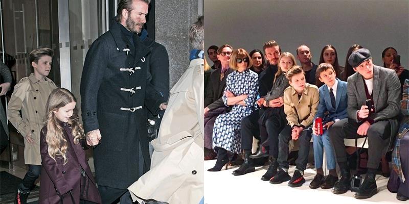 """Gia đình Beckham gây """"náo loạn"""" show thời trang vì quá sành điệu"""