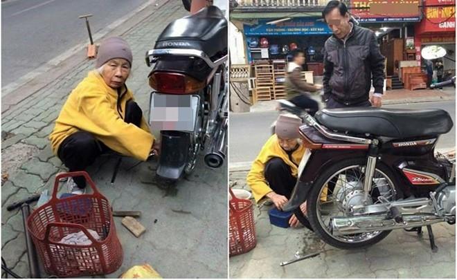 Cụ bà 88 tuổi vá xe máy trên phố