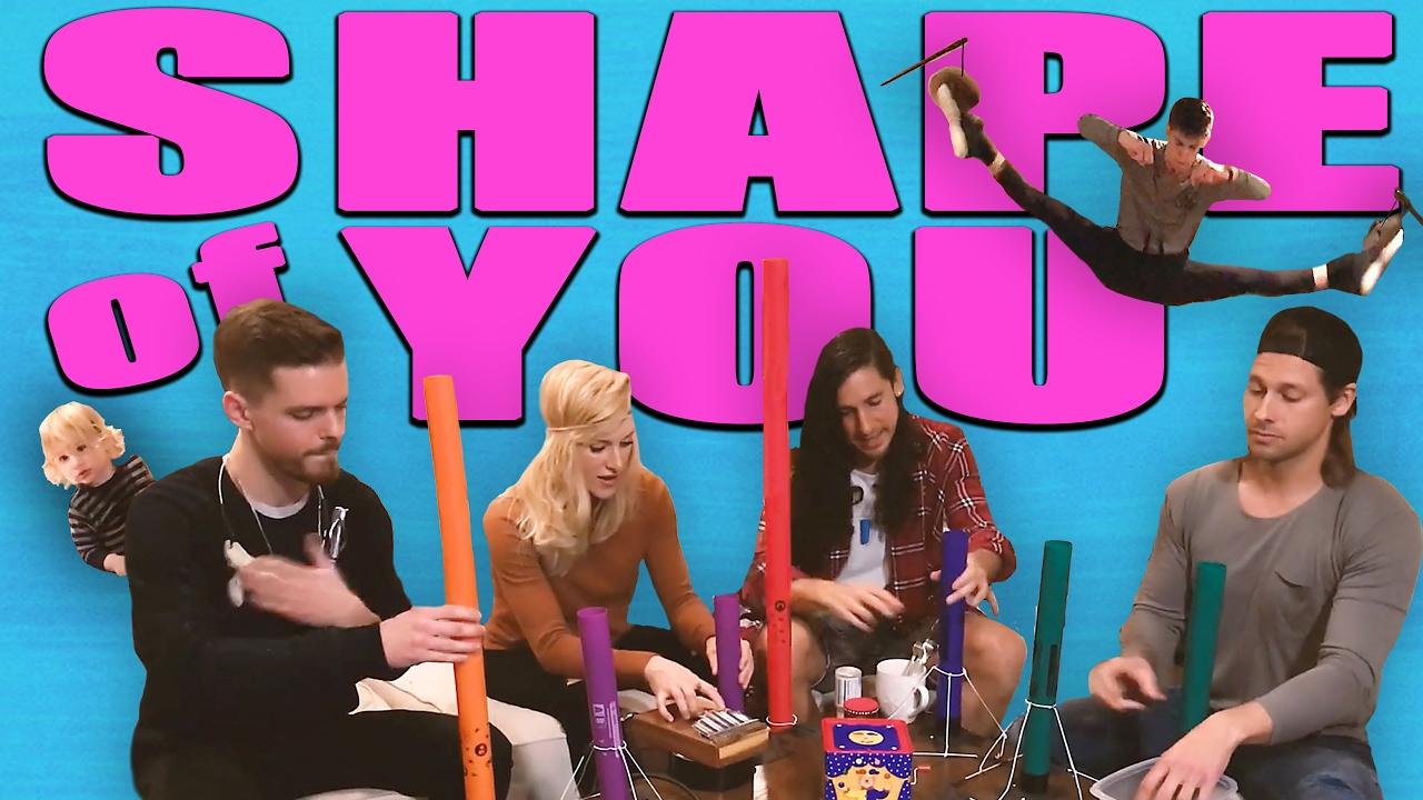 """Bản cover hit """"Shape of you"""" với ống nhựa và sỏi hút 2 triệu lượt xem"""
