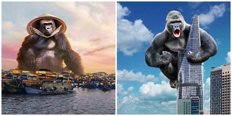 """Té ghế loạt ảnh """"mang Kong đi khắp Việt Nam"""" của """"thánh lầy photoshop"""""""