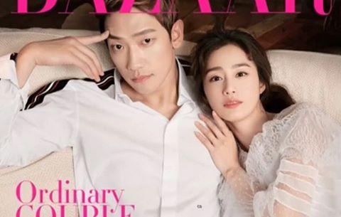 Kim Tae Hee e ấp bên Bi Rain trên trang bìa tạp chí tháng 4