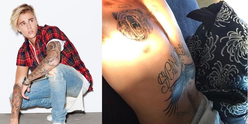 """Justin Bieber """"thoát y"""" khoe ngực trần và hai hình xăm """"khủng"""" mới tậu"""