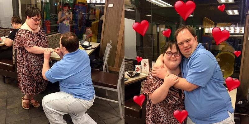 Cặp đôi bị bệnh Down cầu hôn nhau trong hạnh phúc