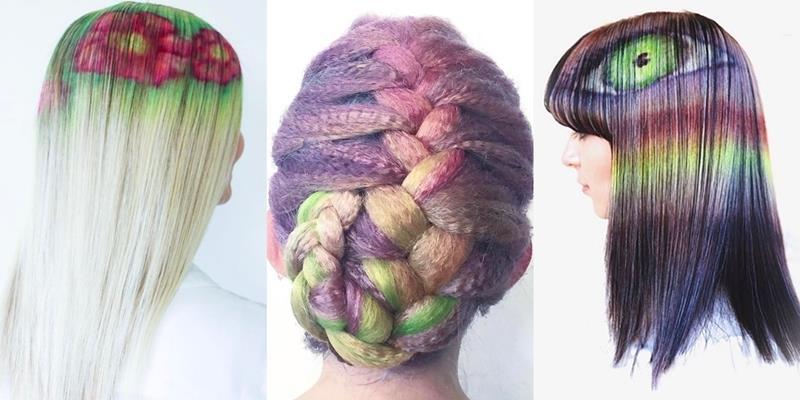 Style tóc nhuộm cầu vồng, hoa cỏ sống động như tranh vẽ