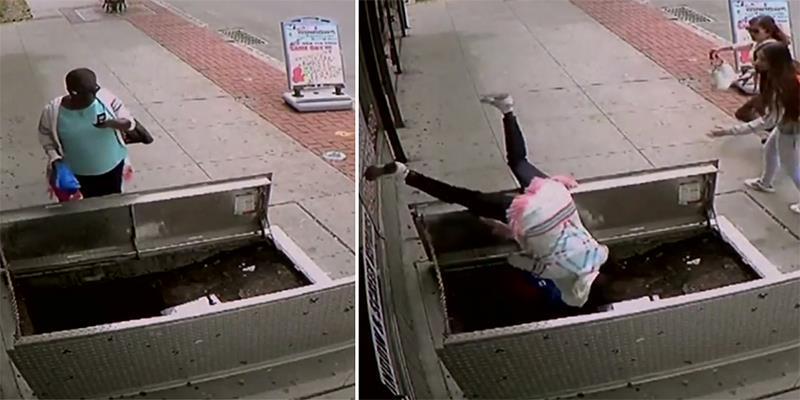 Mải mê nhìn điện thoại, người phụ nữ ngã nhào xuống hố trọng thương