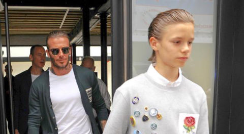 Bố con David Beckham để tóc giống nhau đi xem thời trang