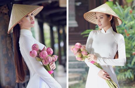 Thanh Trang - thí sinh Hoa Hậu Hoàn Vũ mềm mại và tinh khôi với áo dài