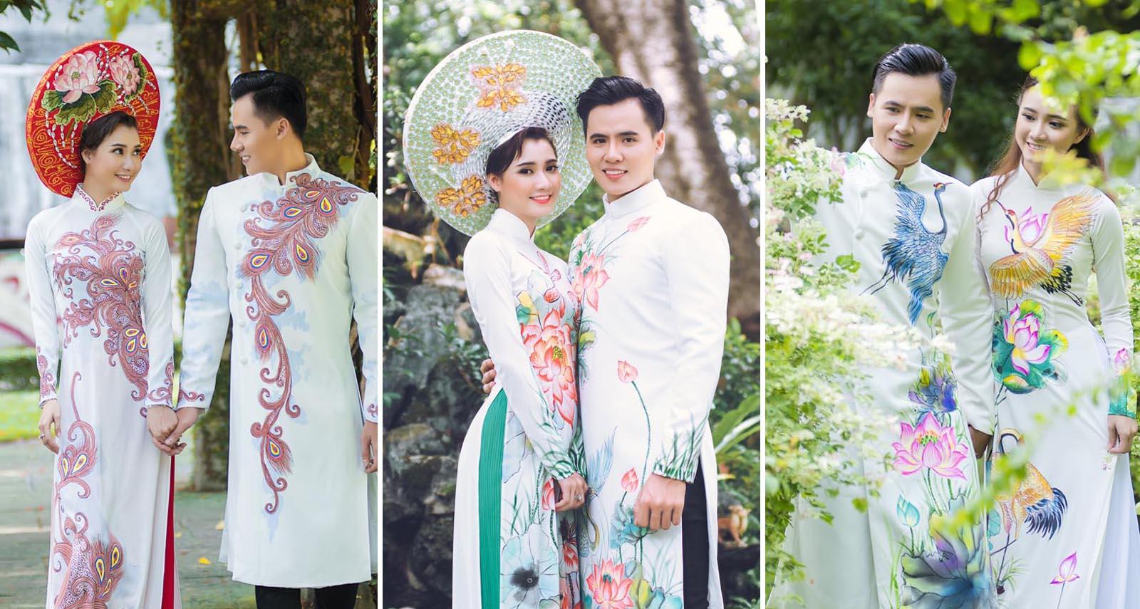 Cặp đôi Hồ Văn Phúc - Bích Ngọc tay trong tay hạnh phúc với Áo dài cưới Tommy Nguyễn