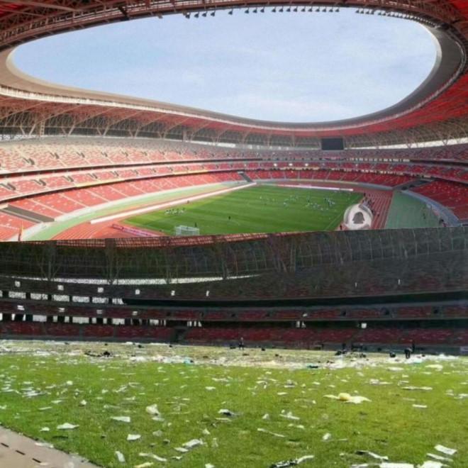 Sân vận động Trung Quốc bị cày nát sau đêm nhạc Thiên vương Hong Kong