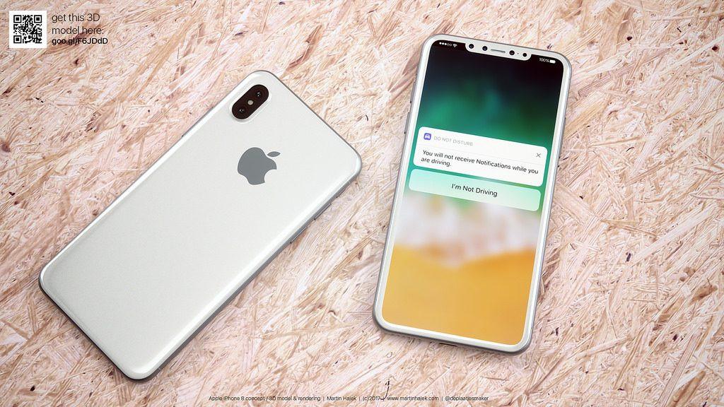 iPhone 8 màu trắng thiết kế không viền trông ra sao?