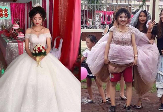 Cô dâu vui vẻ mặc quần đùi, đi giày thể thao trong ngày mưa bão