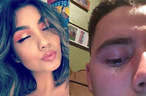 Chàng trai khóc khi thấy ảnh trang điểm của bạn gái