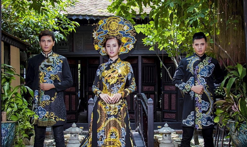 Mã Hiểu Đông và Hồ Văn Phúc đọ sắc với Áo dài cưới Tommy Nguyễn
