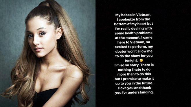 Ban tổ chức xin lỗi khán giả vì Ariana Grande hủy show bất ngờ