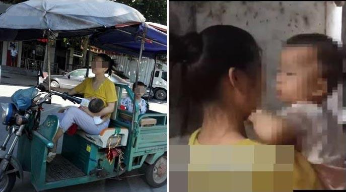 Bà mẹ trẻ chất chơi nhưng liều mạng: Một tay lái xe, một tay cho con bú