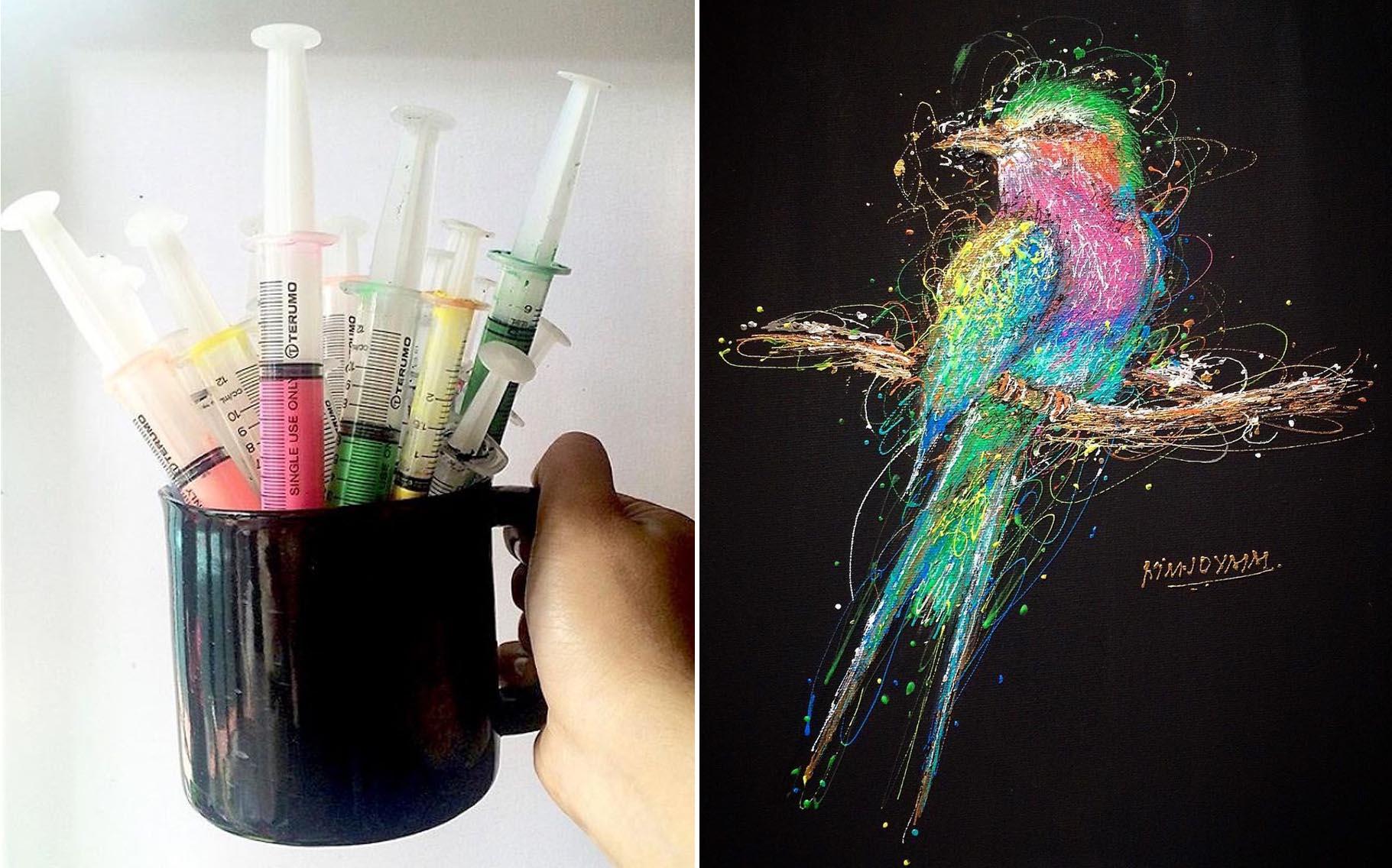 Nữ y tá trẻ tạo ra các bức tranh sống động từ kim tiêm