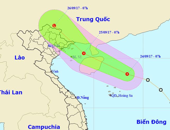 Áp thấp nhiệt đới hướng vào vịnh Bắc Bộ