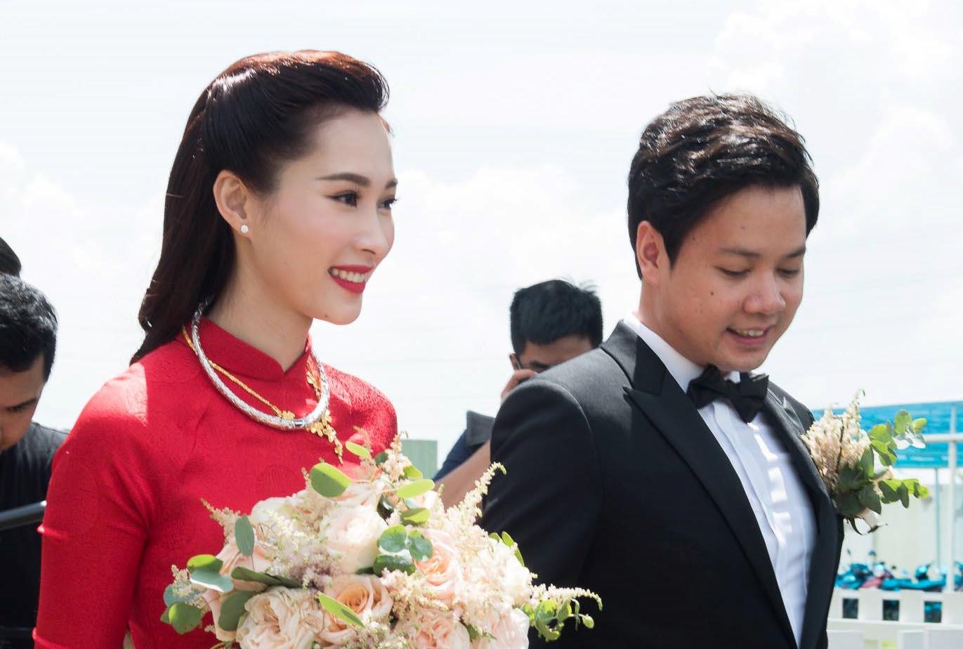 Hoa hậu Đặng Thu Thảo rạng ngời bên chồng đại gia trong lễ rước dâu