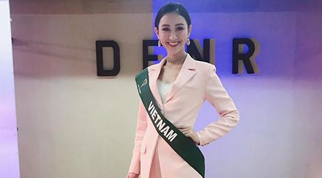 Hà Thu lọt top 10 thí sinh được yêu thích nhất Hoa hậu Trái đất 2017