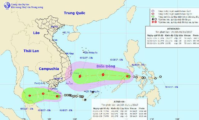 2 cơn áp thấp nhiệt đới cùng lúc ở miền Nam là bất thường