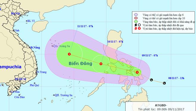 Ngày mai áp thấp nhiệt đới vào Biển Đông