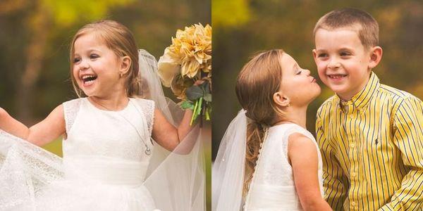 """Xót xa câu chuyện cô bé 5 tuổi """"kết hôn"""" cùng người bạn thân 6 tuổi"""