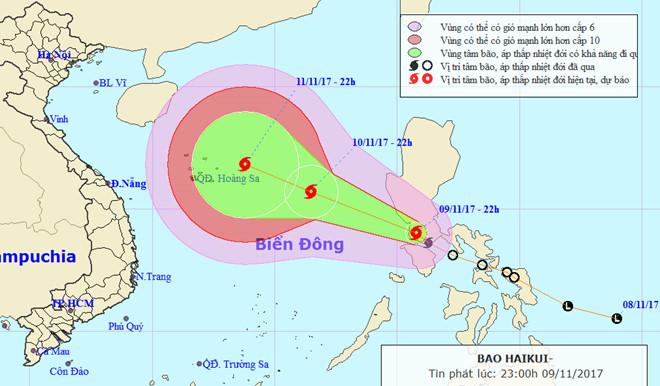 Bão Haikui tăng cấp khi vào Biển Đông