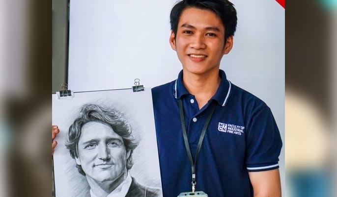 Bức tranh của 9X Quảng Ngãi được chuyển đến tận tay thủ tướng Canada