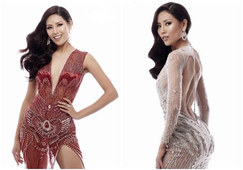 Nguyễn Thị Loan khoe đầm dạ hội gợi cảm mặc ở Hoa hậu Hoàn vũ Thế giới