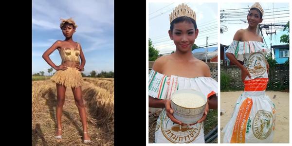 """Màn catwalk với trang phục """"cây nhà lá vườn"""" của cậu bé Thái Lan"""