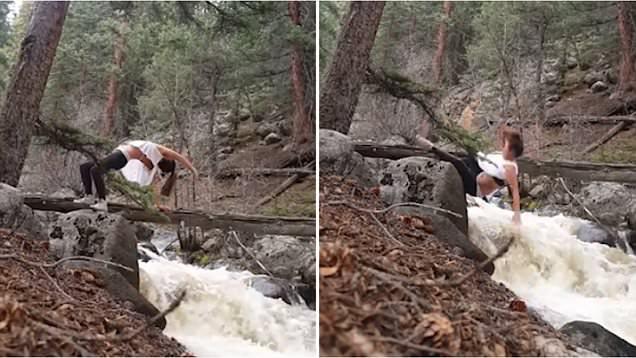 Cái kết đắng cho cô gái tập yoga trên cây cầu gỗ bắc qua suối