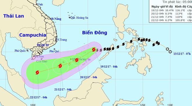Bão số 15 hướng về vùng biển phía nam