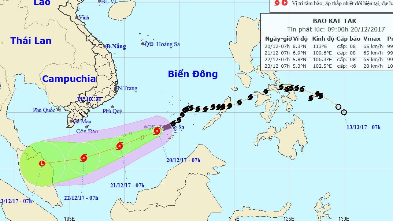 Bão Kai-tak giật cấp 11 tiến sâu vào Biển Đông
