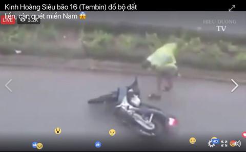 Giả livestream bão số 16 đổ bộ để câu like trục lợi trên Facebook
