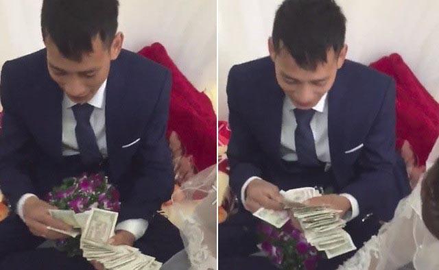 """Chú rể Hải Phòng """"đếm mỏi tay"""" cọc tiền lẻ sau đám cưới"""