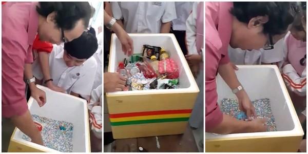 Các học trò tặng quà sinh nhật cho thầy giáo