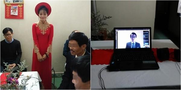 Đám ăn hỏi qua màn hình laptop của cặp đôi yêu nhau 10 năm